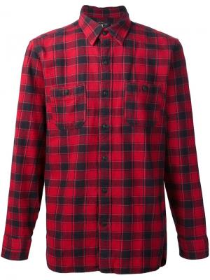 Рубашка в клетку Reliance Rrl. Цвет: красный