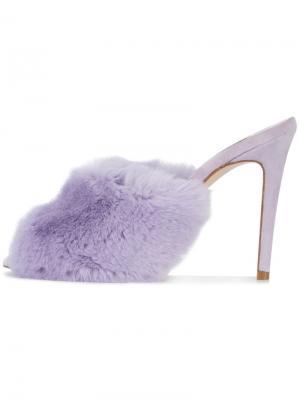 Босоножки с отделкой из кроличьего меха Natasha Zinko. Цвет: розовый и фиолетовый