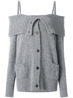 Оверсайз-кардиган с открытыми плечами Prada. Цвет: серый