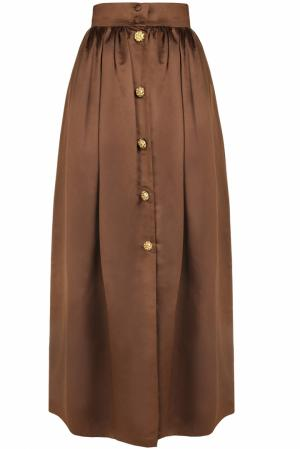 Шелковая юбка (80-е) Escada by Margaretha Ley Vintage. Цвет: коричневый