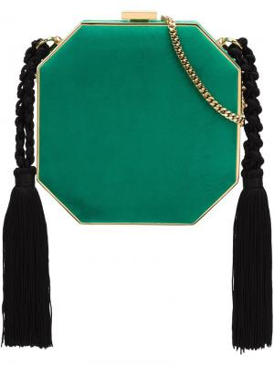 Сумка на плечо с кисточками Alessandra Rich. Цвет: зелёный
