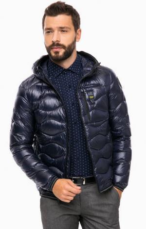 Пуховик с карманами и капюшоном Blauer usa. Цвет: синий