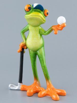 Фигурка Лягушка - гольфист Elan Gallery. Цвет: зеленый, оранжевый, черный