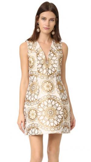 Платье-фонарик Pacey с V-образным вырезом alice + olivia. Цвет: золотой