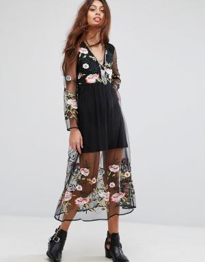 RD & Koko Платье с длинными рукавами и цветочной вышивкой. Цвет: черный