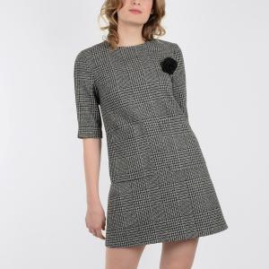 Платье короткое с короткими рукавами MOLLY BRACKEN. Цвет: черный/серый