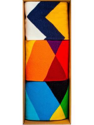 Набор Огни мегаполиса (3 пары в коробке), дизайнерские носки SOXshop. Цвет: лазурный, зеленый, желтый