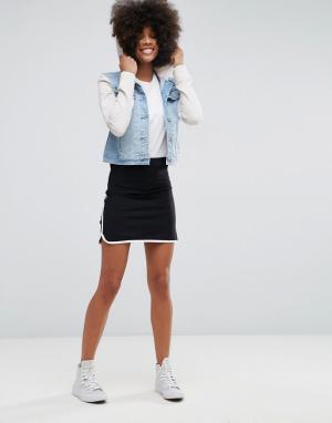 ASOS Мини-юбка с контрастной окантовкой в спортивном стиле. Цвет: темно-синий