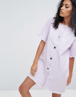 Liquor N Poker Джинсовое платье на пуговицах с необработанным краем. Цвет: фиолетовый
