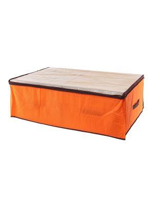 Кофр для хранения одеял и пледов Соты оранжевый EL CASA. Цвет: оранжевый