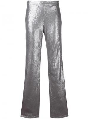 Расклешенные брюки с пайетками Misbhv. Цвет: металлический
