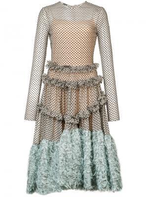 Асимметричное платье-миди Jourden. Цвет: многоцветный
