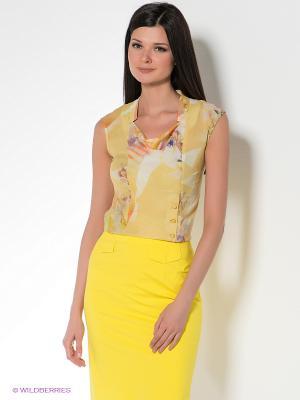 Блузка KEY FASHION. Цвет: светло-желтый, оранжевый