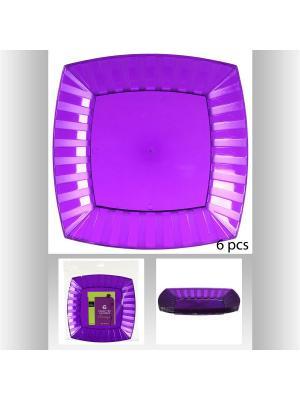 Набор тарелок квадратных пластиковых для пикника из 6 шт, 27 см JJA. Цвет: фиолетовый