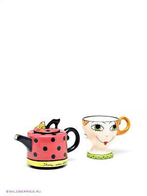 Чайный набор Дама Pavone. Цвет: розовый, желтый, зеленый, кремовый, черный