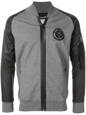 Куртка-бомбер с заплаткой Russell Plein Sport. Цвет: серый