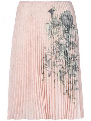 Плиссированная юбка с принтом Prada. Цвет: розовый и фиолетовый