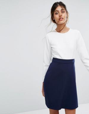 Closet London Платье с фактурной юбкой и завязкой на спине. Цвет: мульти