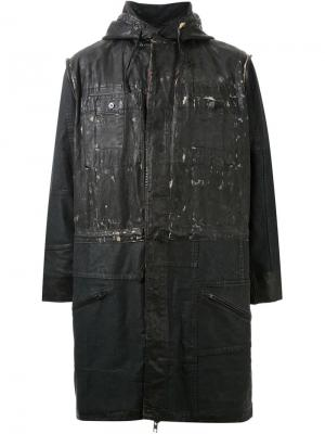 Пальто с капюшоном Longjourney. Цвет: чёрный