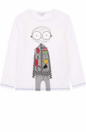 Хлопковый лонгслив с принтом и прострочкой Marc Jacobs. Цвет: белый