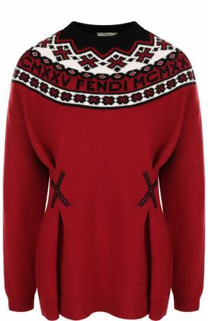 Приталенный пуловер из смеси шерсти и кашемира Fendi. Цвет: красный