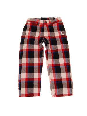 Брюки Plaid Pencil Pants Mini Shatsu. Цвет: красный, коричневый, голубой