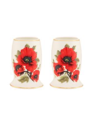 Набор из 2-х вазочек под зубочистки Маки Elan Gallery. Цвет: белый, красный
