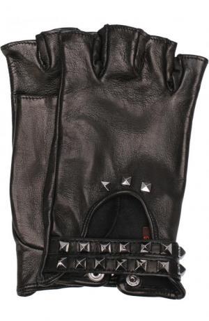 Кожаные митенки с металлической отделкой Sermoneta Gloves. Цвет: черный