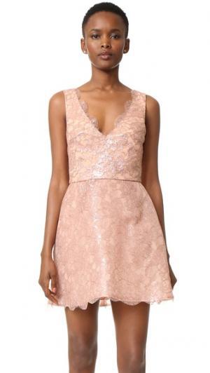 Структурированное платье без рукавов Monique Lhuillier. Цвет: розовое золото