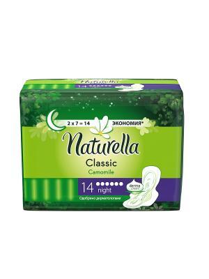 Гигиенические прокладки с крылышками, ароматизированные, Camomile Night Duo, 14шт. NATURELLA. Цвет: салатовый