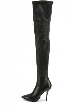 Кожаные ботфорты на шпильке Givenchy. Цвет: черный