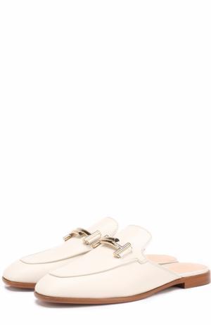 Кожаные сабо с пряжкой Tod's. Цвет: белый