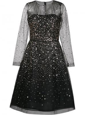 Расклешенное платье с золотистыми пайетками Oscar de la Renta. Цвет: чёрный