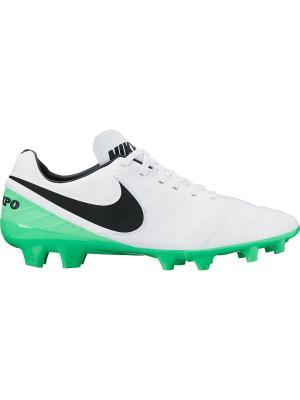 Бутсы TIEMPO MYSTIC V FG Nike. Цвет: белый, зеленый, черный