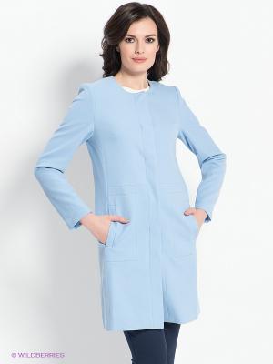 Пальто ZARINA. Цвет: голубой