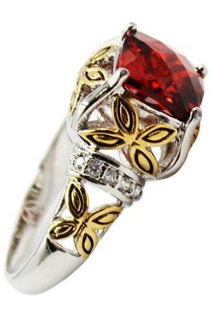 Кольцо Taya. Цвет: серебристый, красный