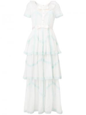 Длинное платье с бантом Alessandra Rich. Цвет: белый