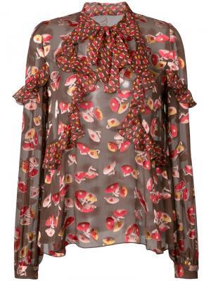 Блузка с принтом Anna Sui. Цвет: красный