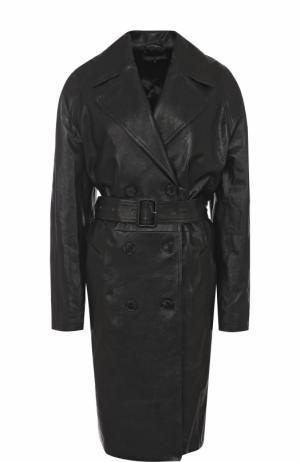 Двубортное кожаное пальто с поясом Alexander Terekhov. Цвет: черный