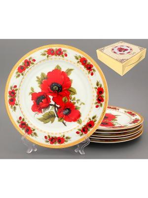 Набор обеденных тарелок Маки Elan Gallery. Цвет: красный, белый
