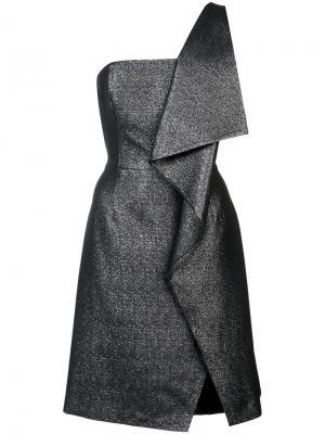 Асимметричное платье с отделкой металлик Halston Heritage. Цвет: металлический