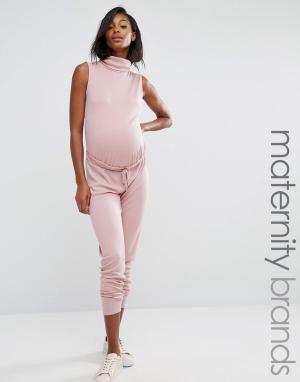 Missguided Maternity Свободный комбинезон для беременных с высоким воротом в рубчик Missgui. Цвет: фиолетовый