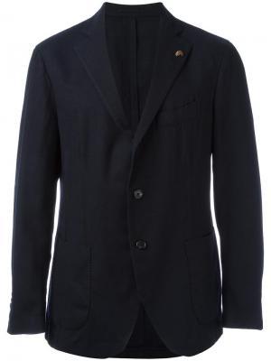 Пиджак на трех пуговицах Gabriele Pasini. Цвет: синий