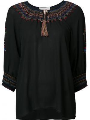 Блузка с вышивкой The Great. Цвет: чёрный