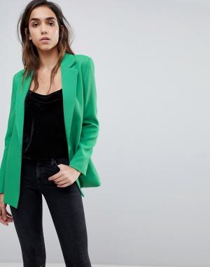 Missguided Удлиненный блейзер. Цвет: зеленый
