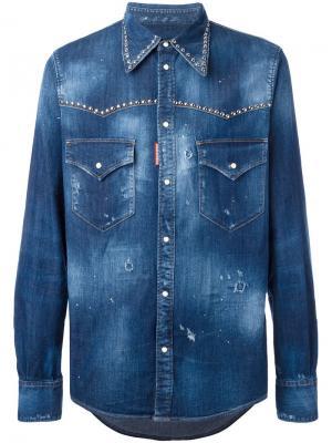 Джинсовая рубашка с потертой отделкой Dsquared2. Цвет: синий