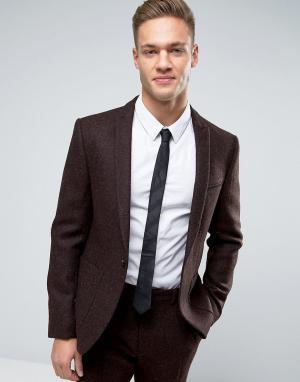 ASOS Коричневый твидовый пиджак слим из 100% шерсти. Цвет: коричневый