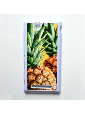 Чехол для Sony Xperia C3 Ананас Boom Case. Цвет: светло-зеленый, светло-желтый