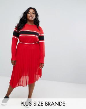 Elvi Шифоновая юбка плиссе. Цвет: красный