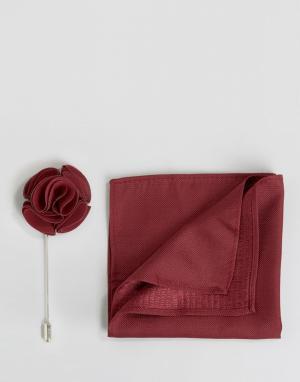 Feraud Шелковый платок и булавка для лацкана. Цвет: красный